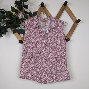 Vintage Telluride Floral Sleeveless Button Up Top